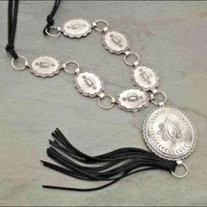 Silver Concho Tassel Necklace